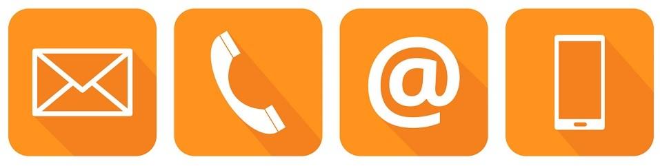 Orangene-Kontakt-Icons